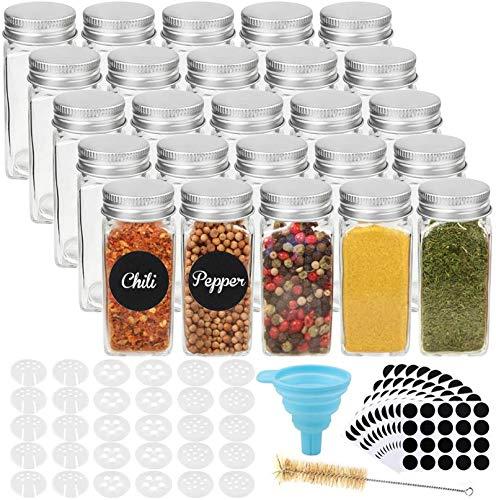 CDWERD 25 tarros de especias, tarros cuadrados de cristal de 100 ml, con 1 embudo de silicona, 200 pegatinas redondas, 1 cepillo de limpieza y 30 coladores.