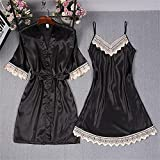 Mode Damen Sommer Mini Kimono Robe Lady Rayon Badekleid Yukata Nachthemd Nachtwäsche Nachthemden Pijama Mujer Größe M-XL-Black - Set-3-XL