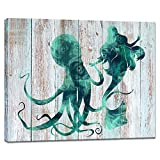 Visual Art Decor Ocean Coastal Canvas Wall Art Prints Abstract Mermaid Dance with Octopus Painting on Teal Green Background Gallery Decor Home Office Wall Decoration (01 Mermaid, 16x20)