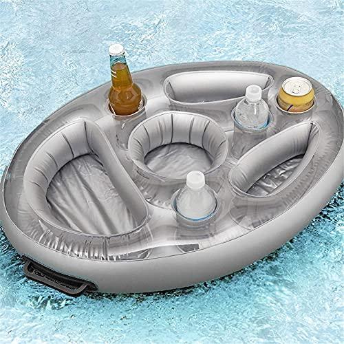Portabevande galleggiante gonfiabile, vassoio per cibo galleggiante per piscina con 8 fori, portafrutta per bevande gonfiabile portatile portabicchieri galleggiante per piscina vasca idromassaggio