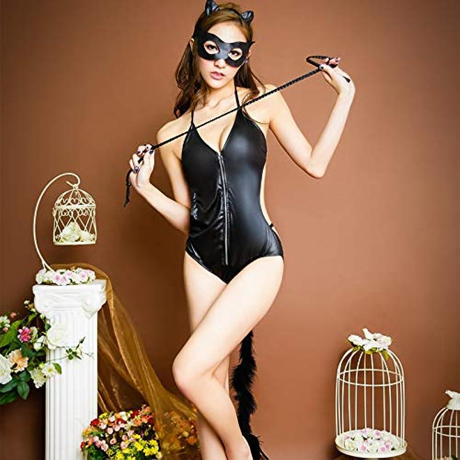 些細筋肉の余分なXiaopf 黒猫の女の子セクシーなランジェリーセットアイマスク耳革の鞭女性ランジェリーセクシーな衣装ホットエロ下着ベビードール