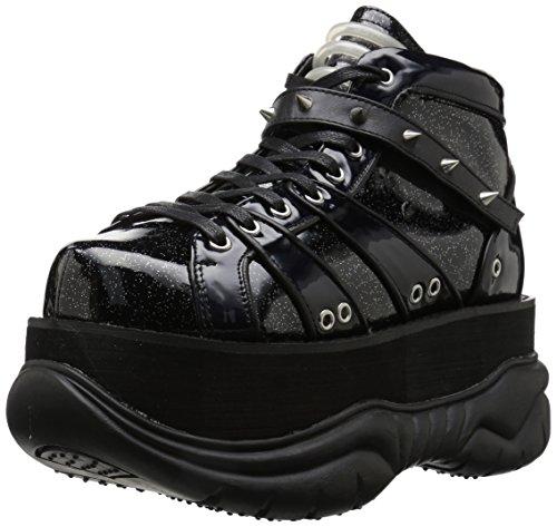 Demonia Women's NEPTUNE-100 Ankle Boot, Black Glitter Silver/Vegan Leather, 10