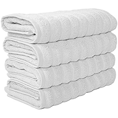 Classic Turkish Towels 4 Piece Luxury Hand Towel Set - 20 x 32 Inch Soft and Thick Large Bath Hand Towels Made with 100% Turkish Cotton (White)