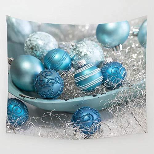 Azul turquesa adornos navideños y tazón tapiz colgante de pared arte de la pared cortina manta toalla sábana comedor con peso 150x201 cm