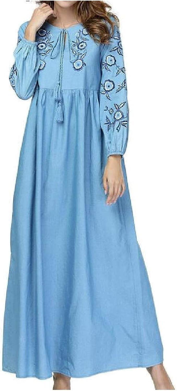 TaoNice Women's Denim Abaya Jilbab Plus Size Middle East Muslim Long Maxi Dress