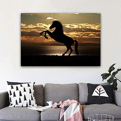 suhang Poster en druk muur canvas schilderij twee paard zwart-wit kunst wandschilderijen voor woonkamer Home Decor 20X30CM No frame ongeframed.
