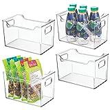 mDesign Plastic Kitchen Pantry Cabinet, Refrigerator or Freezer Food Storage Bins with Handles - Organizer for Fruit, Yogurt, Snacks, Pasta - BPA Free, 10' Long, 4 Pack - Clear
