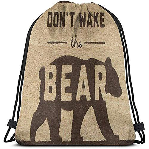 Arvolas Bolsas con cordón de Gimnasio Don 'T Wake The Bear String Pull Bag Mochila de Cuerda Durable Cinch...