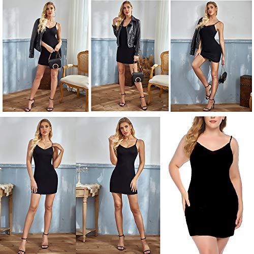 Best Shapewear for Tummy and Back Fat - Avidlove Women Modal V Neck Nightwear Sleeveless Straight Dress Mini Full Slips Black L