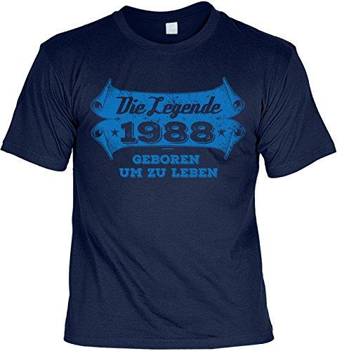 Rahmenlos - Camiseta con texto en alemán 'Die Legende 1988 Geboren um zu Leben', diseño con texto en alemán azul marino XXXL