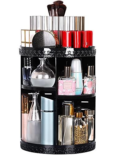 Syntus Rotating Makeup Organizer, 360 Adjustable Cosmetic Carousel Spinning Holder Rack, Large Capacity Makeup Storage Box Vanity Shelf Countertop for Bathroom, Lipsticks, Brushes, Black
