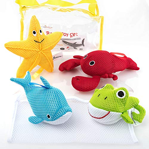 Little Additions Soft and Educational Baby Bath Toy Set with Storage...