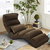 CASART Folding Sofa Bed, 5-Position Adjustable Floor Lounger Sleeper Gaming Chair with Pillow, Padded Seat Lazy Sofa Chair for Bedroom, Living Room and Office (Coffee)