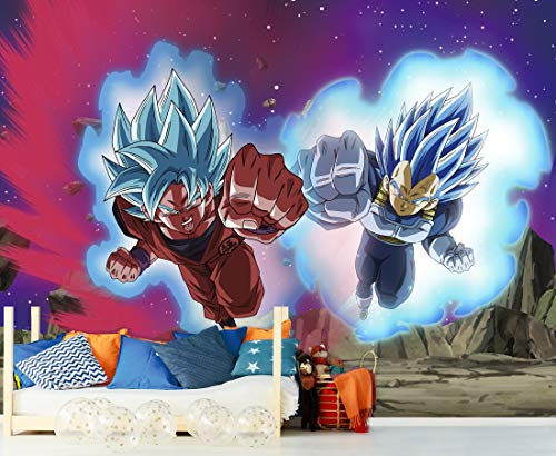Fotomural Vinilo de Pared Dragon Ball Super Goku y Vegeta Producto Oficial   200x150 cm   Fotomural para Paredes   Producto Original   Decoración Hogar   DBS