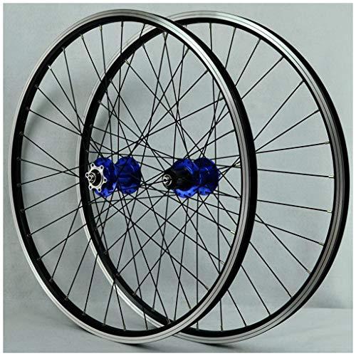 26 Pulgadas MTB Juego de Ruedas Bicicleta, Pared Doble Aleación Aluminio Freno Disco/V Llanta Ciclismo Liberación Rápida 32 Hoyos 8/7/9/10 Velocidad Ruedas Disco (Color : Blue, Size : 26inch)