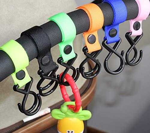 Yuhtech - Confezione da 6 ganci per passeggino, per appendere borse della spesa, borsette, borse e bottiglie d'acqua