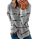 Eduavar Womens Long Sleeve Shirts Casual Women's Color Block Round Neck Tunic Tops Casual ...