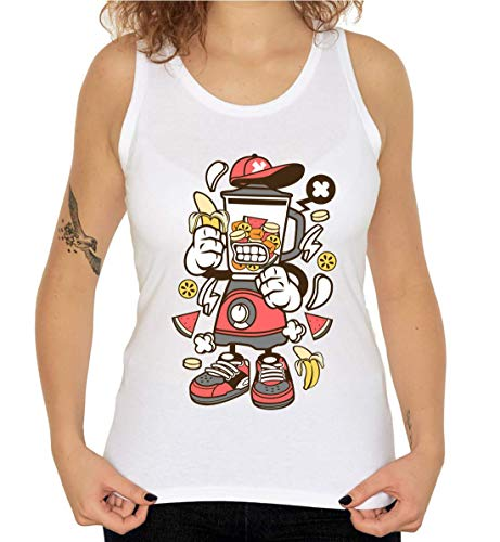 Cartoon Styled Blender Urban Banana Milkshake T-shirt zonder mouwen voor dames
