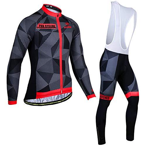 AEAC Thermische Jersey Set voor Winter Fietsen Kleding voor Mountainbike Kleding voor Heren Jersey Set Jersey + Gel gewatteerde Bib Broek Fietspak