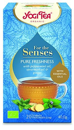 Yogi Tea, For The Senses, Fresh Inspiration, té de hierbas orgánico con aceites esenciales, mezcla de menta, menta verde y jengibre, 6 paquetes de 20 bolsas de té (120 bolsitas de té en total)