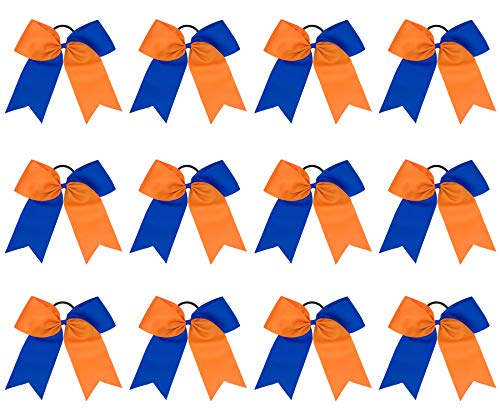 8 Inch 2 Colors Jumbo Cheerleader Bows Ponytail Holder Cheerleading Bows Hair Tie for Teen Women Girls Competition Sports Cheerleaders (12 Pcs) (Orange/Royal Blue)