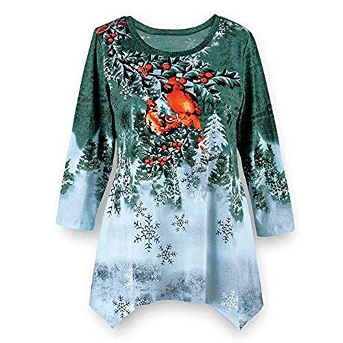 LODDD Christmas Plus Size Women's Shirt Winter Festive Waterfall Irregular Hem Loose Blouse Top