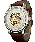 Sewor Crusader Reloj mecánico de pulsera de esqueleto de viento mecánico para hombre con estuche de cuero (Blanco)