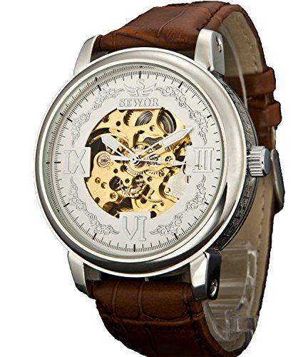 Sewor Crusader Mens Mechanische Hand Wind Skelett transparente Armbanduhr (Weiß)