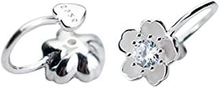 925 Sterling Silver Non-Piercing/Clip On Wrap CZ Small Flower Earring