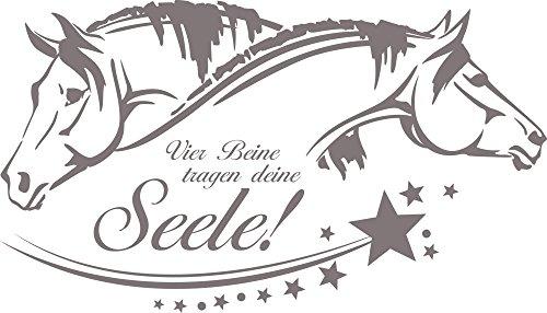 GRAZDesign Geburtstagsgeschenk für Mädchen Vier Beine tragen Deine Seele - Pferdewandtattoo Spruch über Pferde - Wandtattoo Sterne / 70x40cm / 640078_40_090