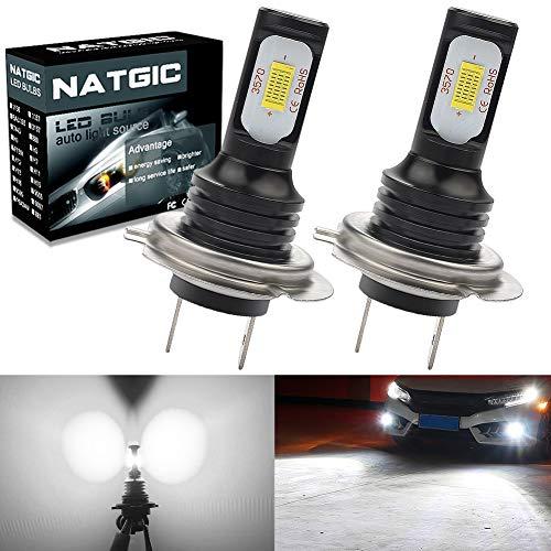 NATGIC H7 Ampoules Antibrouillard LED Haute Puissance 75W Dernières puces Intégrées 3570 CSP 6500K Blanc Xénon et 2400LM pour Ampoules Antibrouillard Feu de Jour DRL Lampe de Conduite (Pack de 2)