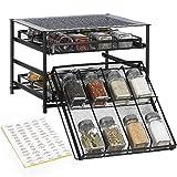 NEX Spice Rack 3 Tier 30-Bottle Spice Drawer Organizer for Pantry Kitchen Cabinet, Metal