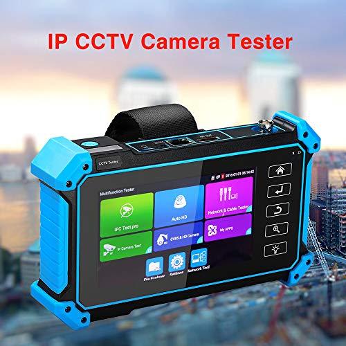 Probador de cámara IP, 5 pulgadas de seguridad CCTV Tester Monitor con CVBS/TVI/AHD/CVI/Cámara analógica/TDR/POE/PSE/WIFI/RJ45 TDR/4K H.265/IP Discovery/ONVIF Soporte/HDMI Out