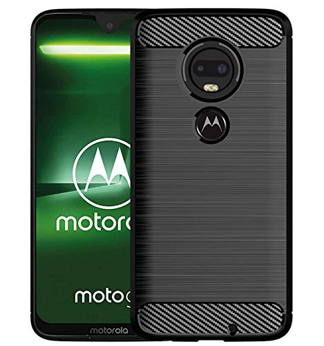 tomaxx Schutzhülle für Moto Motorola G7 Power Dual-SIM Hülle Silikon Tasche Carbon - Schwarz Ultra Schlank Dünn TPU