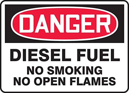 """Accuform MCHL268VS Adhesive Vinyl Safety Sign, Legend""""Danger Diesel Fuel NO Smoking NO Open Flames"""", 7"""" Length x 10"""" Width x 0.004"""" Thickness, Red/Black on White"""