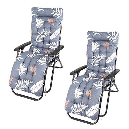 Cojín de repuesto para tumbonas, gruesas, suaves, antideslizantes, para jardín, patio, para interiores y exteriores, sin sillas (2 unidades)
