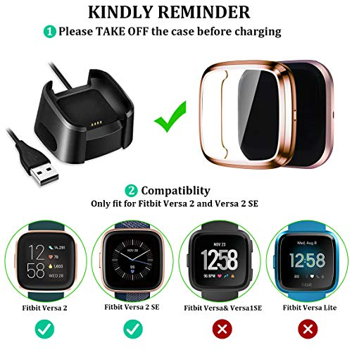 Maledan Ultra Thin Screen Protector Case Compatible with Fitbit Versa 2, 3 Pack TPU HD Full Protective Case Cover…