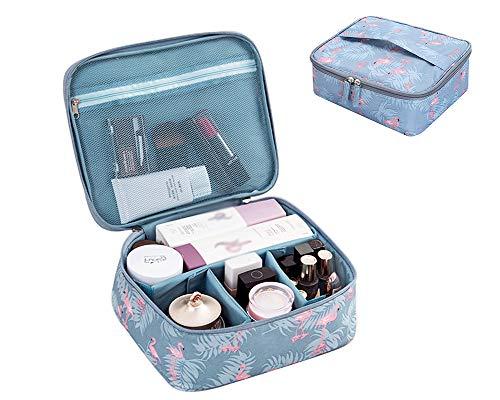 JooNeng, piccola borsa da viaggio per trucchi, con scomparti, organizer cosmetici, trousse per donne e ragazze Blue Flamingo