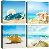 Artscope 4 Teilig Leinwandbilder mit Blauer Himmel und