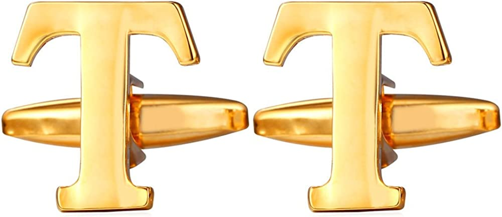 U7 Men Cuff Links Wedding Business Shirt Studs Platinum Gold Plated Name Monogram Jewelry Letter Cuff-Links, A-Z 26 Initials