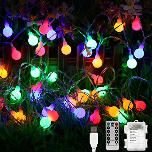 Globe String Lights 50 LED Bulb Fairy Lights 8 Lighting Modes USB/Battery Operated Fairy String Lights for Christmas Halloween Wedding Party Garden Bedroom, Indoor and Outdoor Decoration(Multi-Color)