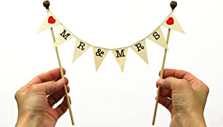 amazing buntings, Mr&Mrs, Cake Topper Bunting Wedding Decoration, Red Hearts, Preassembled