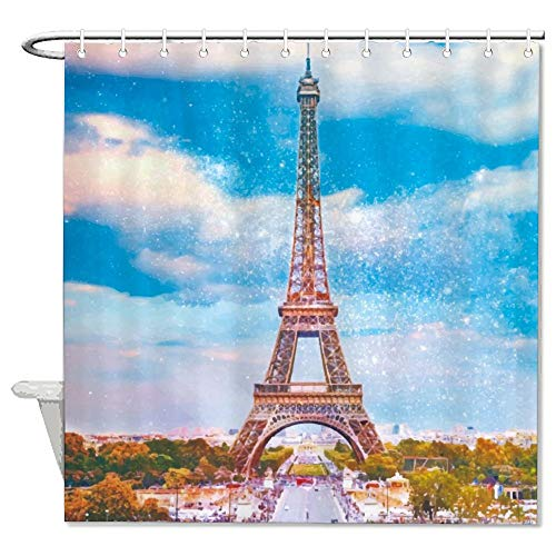 Polyester Duschvorhang Eiffelturm Badvorhang Wasserdicht Vorhang