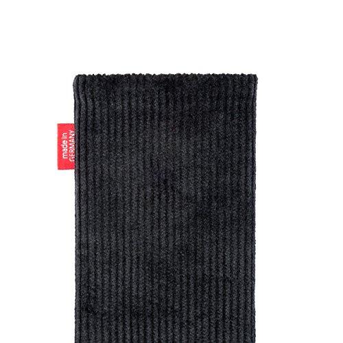fitBAG Retro Schwarz Handytasche Tasche aus Cord-Stoff mit Microfaserinnenfutter für Huawei Ascend Mate 2   Hülle mit Reinigungsfunktion   Made in Germany - 5
