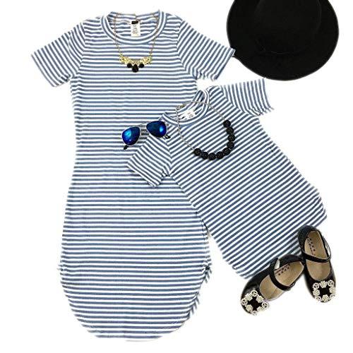 Loalirando Familia de Verano Matching Madre e Hija Vestidos Outfits con Mangas Cortas Vestido Corto de Mamá y Niña Ropa Familiar Regalo para Playa Viaje (Rayas Azul, Adulto-L)