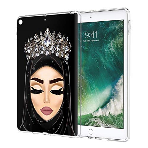 Pnakqil iPad 9.7 2018/2017 Case Clear Silicone Gel TPU with Pattern Cute Transparent Rubber Shockproof Soft Ultra Thin Protective Back Case Cover for Apple iPad 9.7 2017/2018 Tablet, Girls