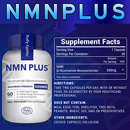 51wPeiZ mOL - Maximum Strength NMN Capsules, 500mg, Naturally Boost NAD+ Levels for Mental Performance & Anti Aging Supplement(600 Count(Pack of 10)