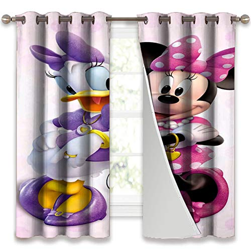 SSKJTC Blackout Grommet Window Curtain Minnie Mouse and Daffy Duck Insulating Blackout Drapes W55 x L45