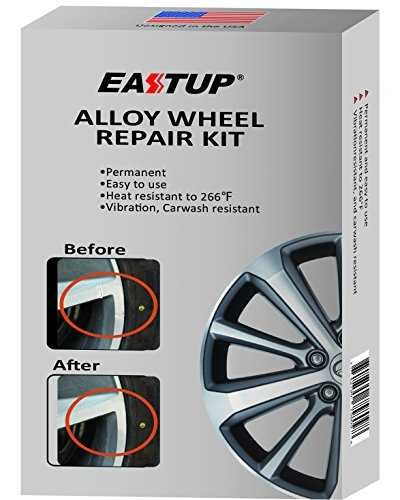 Eastup Alloy Wheel Repair Kit Restoration Tools Fix Scratches,Slight Dents,Chip,Curb Damages,Sanding Marks,Installation Damages,scuff, Heat Resistant to 266°F, Vibration Resistant,Carwash Resistant