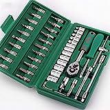 Brocas de llave de vaso de 1/4', con trinquete y adaptador, varillas de extensión flexibles de juego métrico, con caja de herramientas, para motor de bicicleta de automóvil